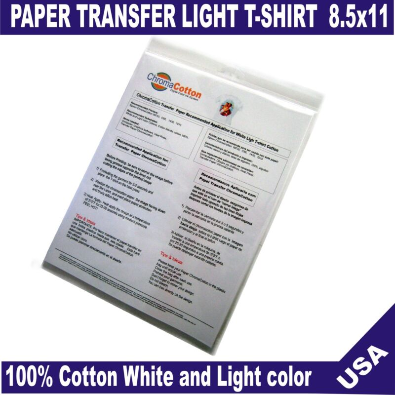 50 Sheets ChromaCotton Transfer Paper 8.5x11  Light White T-shirt 100%Cotton
