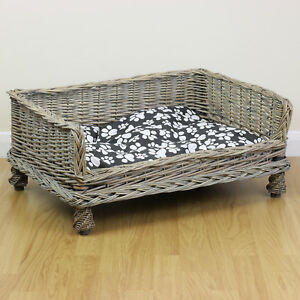Medium Raised Grey Woven Wicker Pet Bed Basket Shabby Chic Kitten/Cat/Puppy/Dog