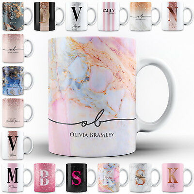 Name Mug Cup - Personalised Marble / Pattern Mug. Add a name for a unique custom gift cup