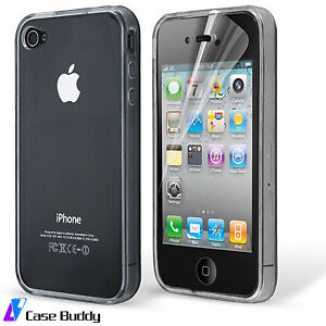 Premium-Clear-Soft-Gel-Case-For-iPhone-4-4S-Silicone-Cover-and-Screen-Protector