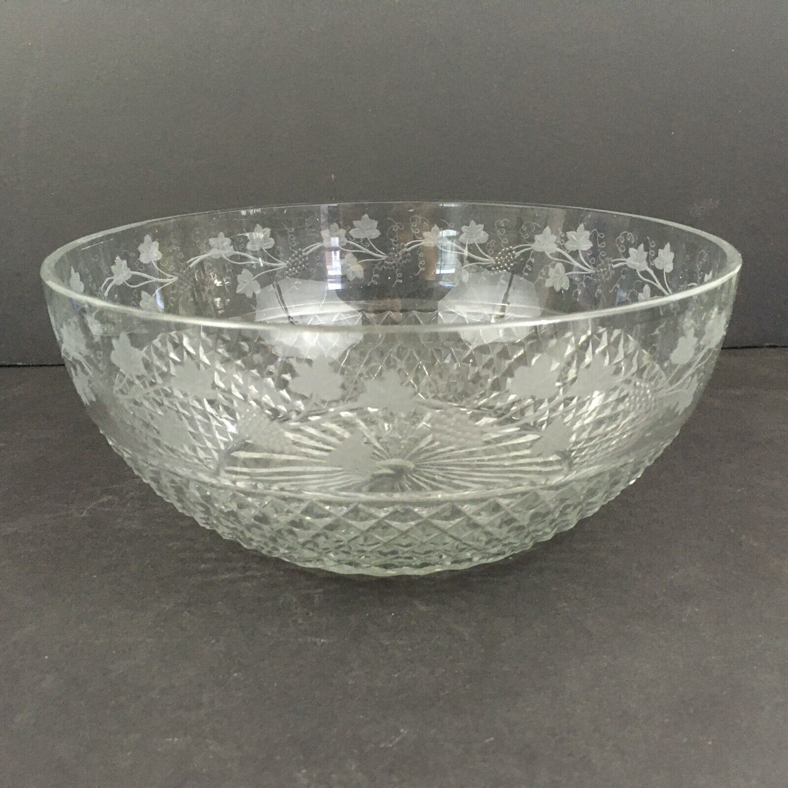Antique Cut & Engraved Glass Bowl Grapevine and Diamond Pattern