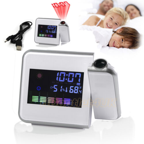 LED&LCD Digital Time Projector Snooze Alarm Clock/Weather Humidity Temp&Colorful