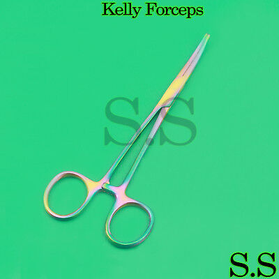Kelly Hemostat Forceps 5.5 Curved Rainbow Titanium Color
