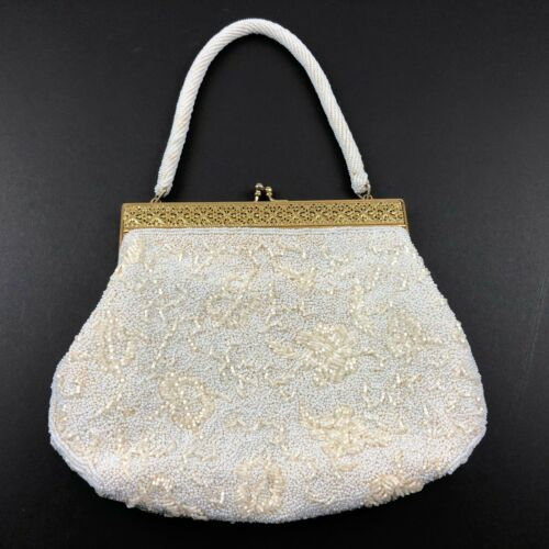 Vintage Purse White Beaded Bag Purse w Gold Frame