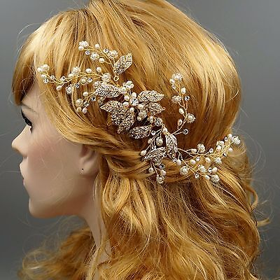 Bridal Hair Comb Freshwater Pearl Crystal Headpiece Wedding Accessories 93 Gold