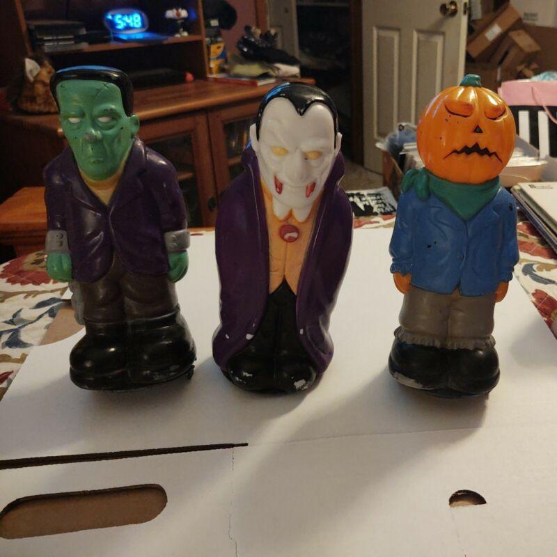 Vampire/Frankenstein/Pumpkin Scarecrow/ BLOW MOLD 1995 General Foam Light Top