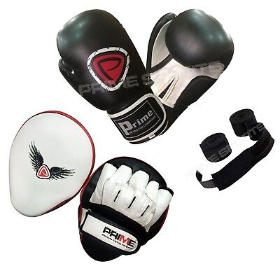 Boxing gloves sparring fight training punch bag focus pads hand wraps set 4 (Boxing Training Bag)