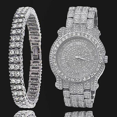 Mens Silver Plated Iced Out Clear Stones 2 Row Hip Hop Bracelet & Fully Cz Watch
