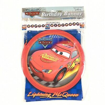 Disney World of Cars 8.5' Happy Birthday Banner Jointed Plastic New Party Room - Disney Cars Birthday Banner