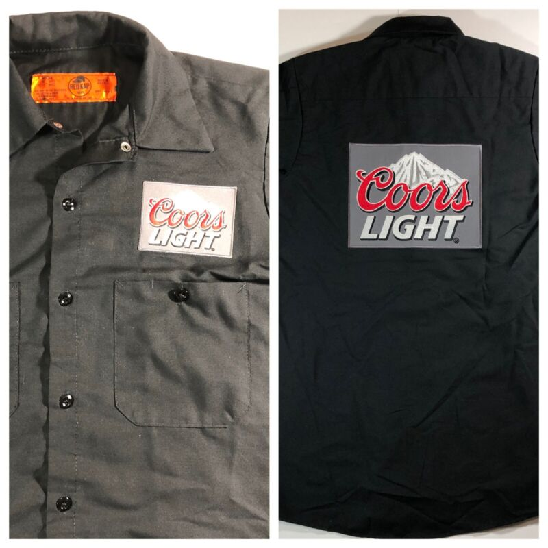 Coors Light Beer Delivery Guy Work Shirt Mens Size Small Black Big Patch Logo