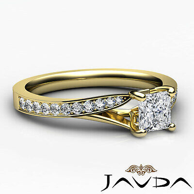 Classic Side Stone Pave Princess Diamond Engagement Ring GIA D Color SI1 0.85Ct 9