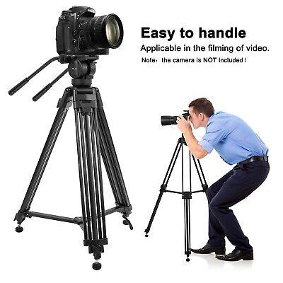 Professional Heavy Duty DV Video Camera Tripod with Fluid Pan Head Kit 72 Inch