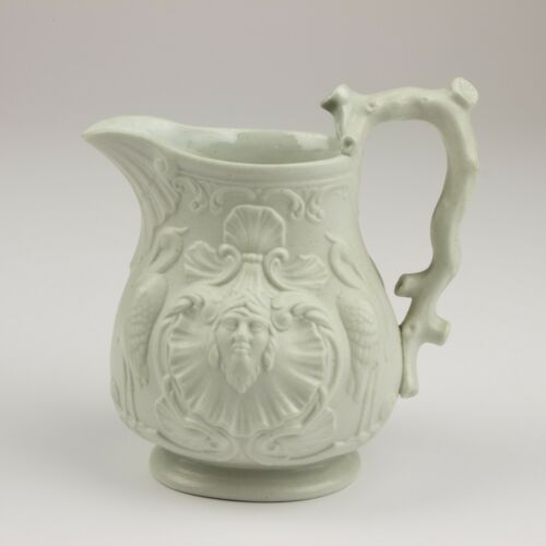 """White Parian Ware English 5 """" Relief Molded Jug/Pitcher, Faces & Birds"""