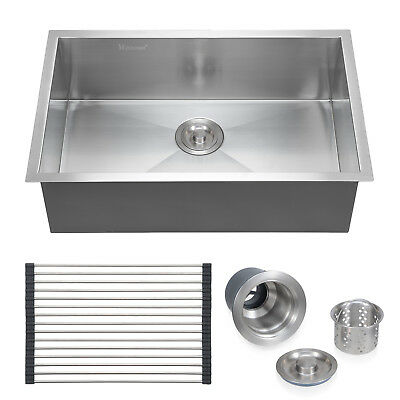 "Commercial Stainless Bite the bullet Top Mount Larder Drop 18 Gage Unattached Basin 28""x18"""