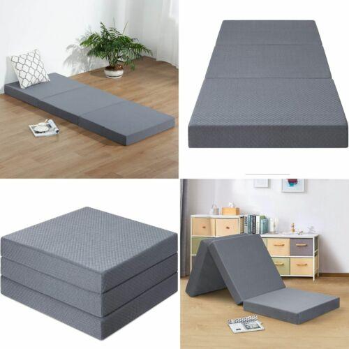 Tri Folding Sleep Floor Mat Single Bed Memory Foam Topper Guest Camping Mattress