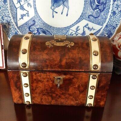 Antique Dome Top Burr Walnut Tea Caddy Box