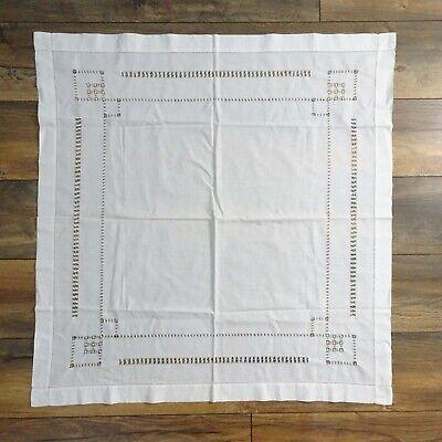 Vintage Square Linen White Tablecloth Large Art Deco Style 88 x 85cm