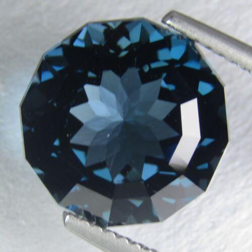 9.15Ct Sparkling Natural London Blue Topaz Round Custom Cut 12.3mm Loose Gem VDO