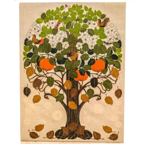 "Vintage 1960s TONI HERMANSSON ""Seasons Tree"" Silkscreen on Linen Wall Hanging"