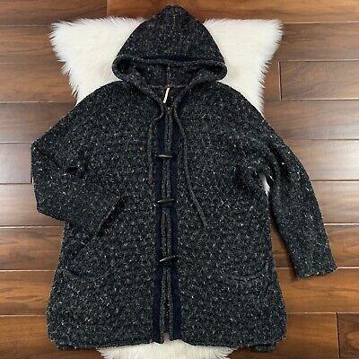 Free People Women's Size Medium Turn Up the Sun Hood Sweater Coat Jacket Toggle