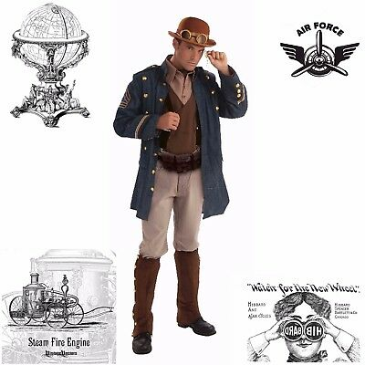 Steampunk General Aviator Military Army Naval Captain Halloween Costume Men S: M - Naval Aviator Costume