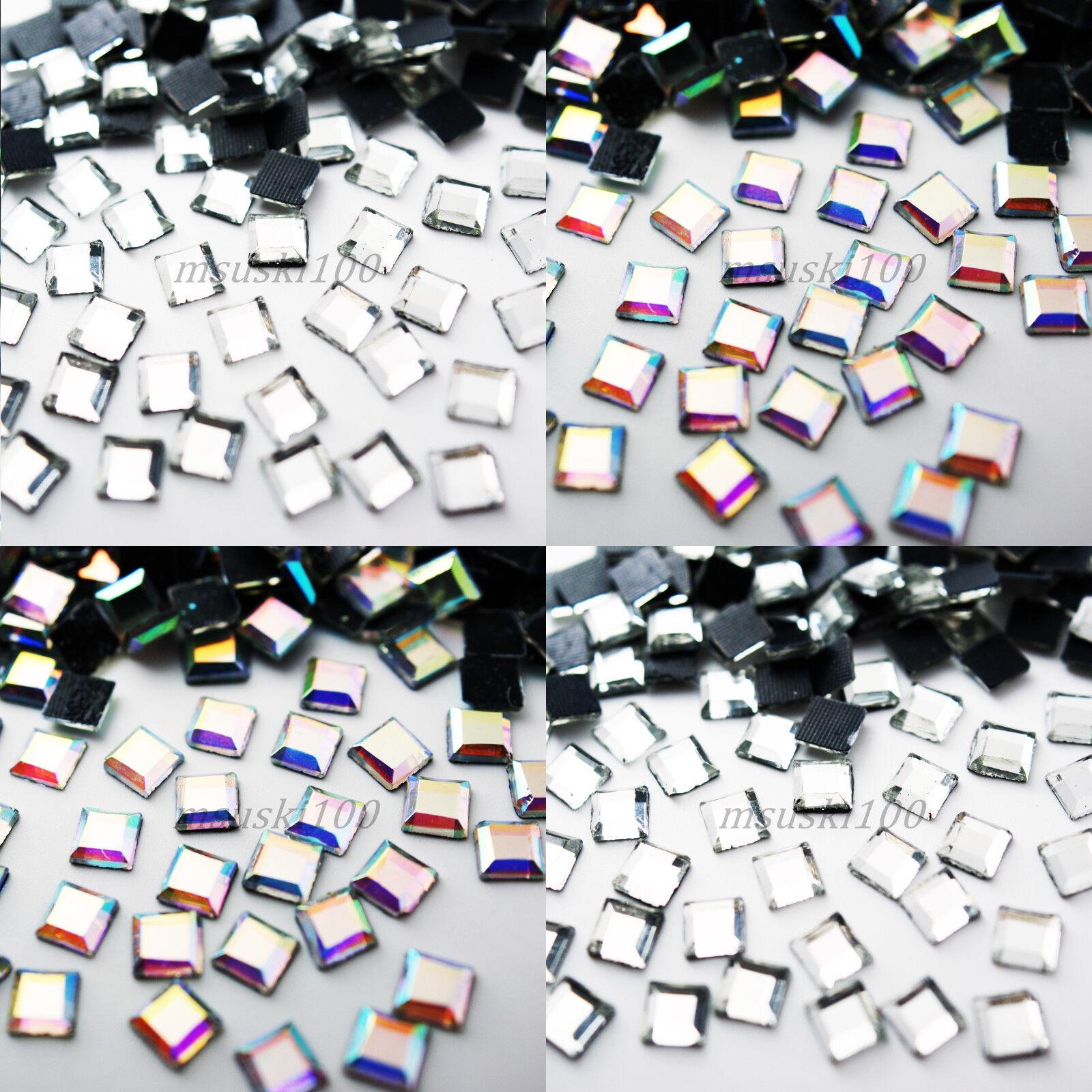 89cb8d3fbd Details about SQUARE Hotfix Rhinestones Crystal Glass Gems Iron on Transfer  Glue Flatback