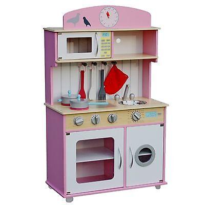 Kinderküche Kinderspielküche Spielküche Rosa Holz mit Zubehör für Kinder pink