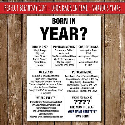 BIRTHDAY IDEA Gift Present Poster Print Back In VARIOUS YEARS AGES Milestone 33