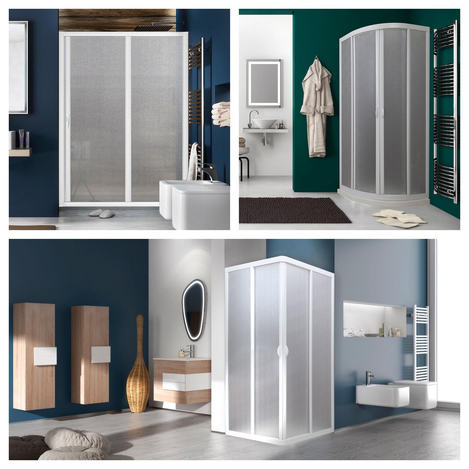 Box doccia acrilico pannelli plexiglass effetto piumato opaco misura regolabile