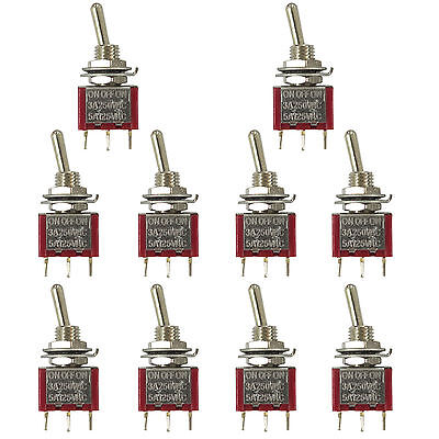 10 Pcs 3 Pin Spdt On-off-on 3 Position Mini Toggle Switches Mts-103 Us Stock