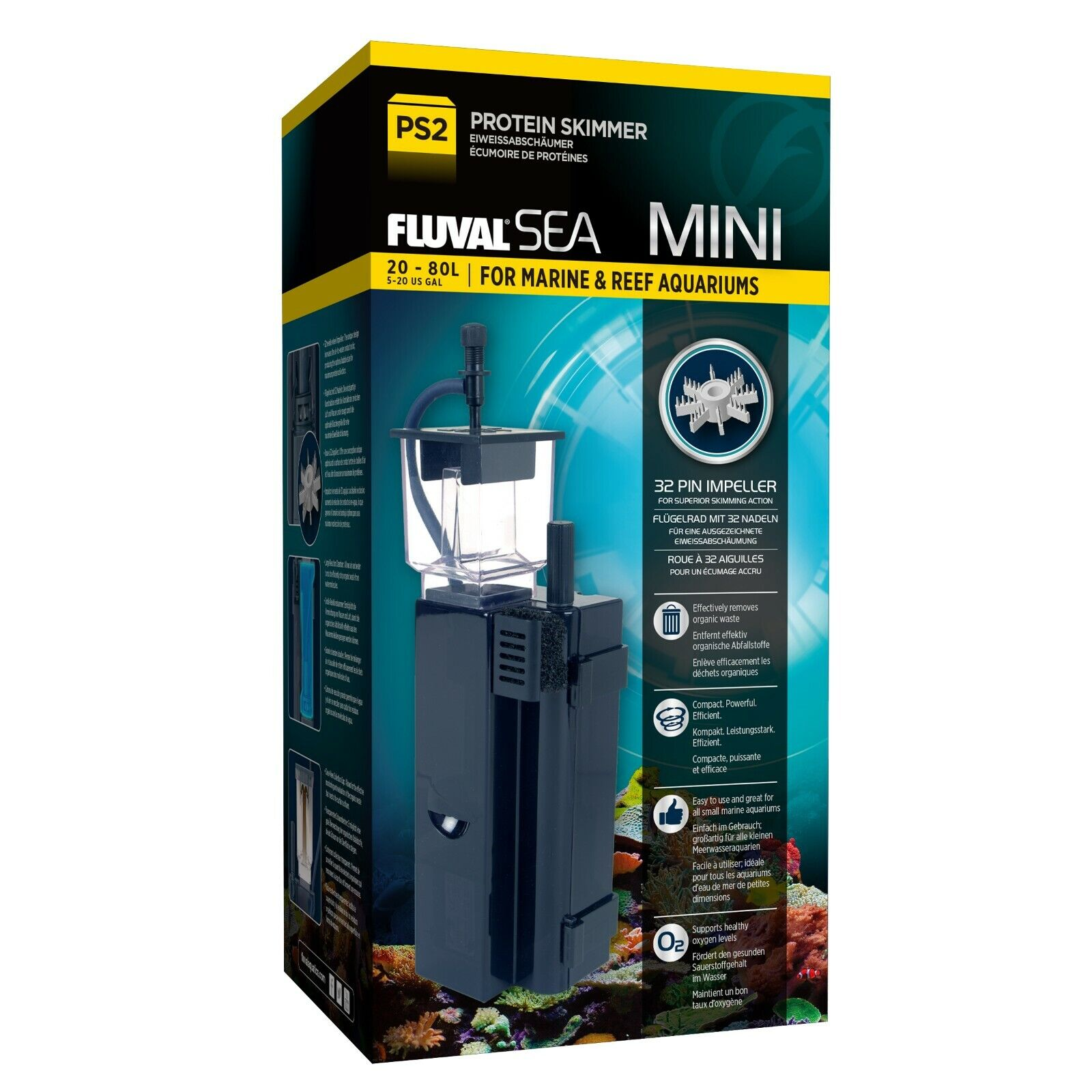 FLUVAL SEA PS2 MINI PROTEIN SKIMMER EVO - 5 to 20 GALLONS AQ