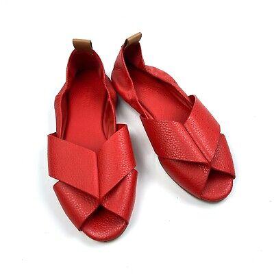 Mercedes Castillo Red Leather Amaia Flats Sandals - MISMATCH Rt 8 Lt 7