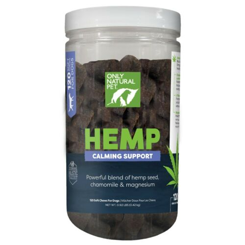 Only Natural Pet HEMP CALMING SUPPORT SOFT DOG CHEWS SEALED 120 COUNT!