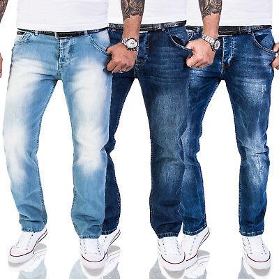 Rock Creek Herren Designer Jeans Hose Regular Fit Stonewashed Used Look M40 NEU - Regular Fit Stone Washed Jean