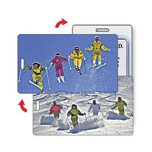 Winter-Skiers-Ski-Snow-Sport-Luggage-Bag-Travel-Tag-Lenticular-Flip-LT01-209