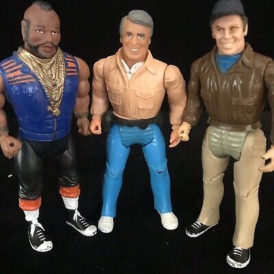 """A-Team 6"""" Action Figures RARE Vintage 1984 Galoob Toy Hannibal, Mr T & Murdoch"""