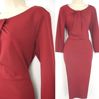Occasion dress size 16 long sleeve office work cocktail party 60s style wiggle