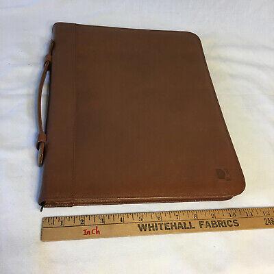 Vera Pelle Italian Leather Portfolio File Organiner Padfolio Brown Briefcase Zip