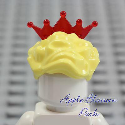 Weiblich Minifig Gelb Blonde Königin Haar Rot Tiara Krone (Rot-tiara)