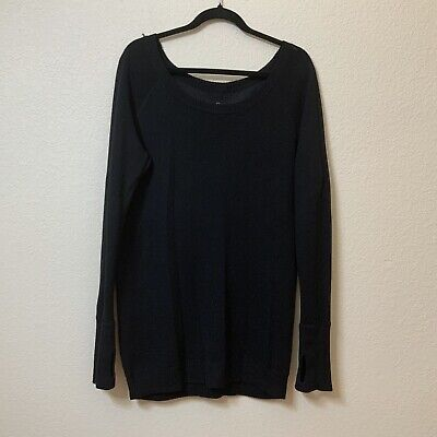 Lululemon Women's Size 12 Chai Time Pullover Reversible Sweater Charcoal/Black
