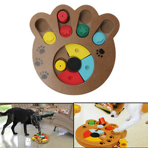 New Pet Dog Wooden Game IQ Training Toy Interactive Food Dispensing Puzzle Plate