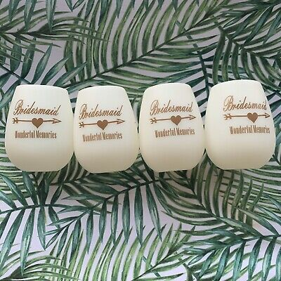 Set Of 4 Silicone Bridesmaid Wine Glasses Wedding Party Gifts Favor Glow In (Wedding Favors Glasses)