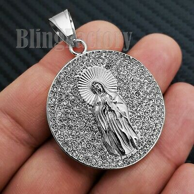 STAINLESS STEEL ICED LAB DIAMOND MOTHER MARY MEDAL CHARM PENDANT S19