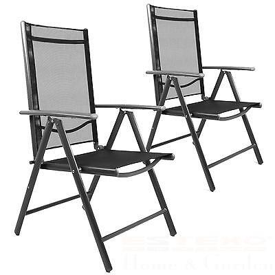 2x Gartenstuhl Schwarz Hochlehner Campingstuhl Klappstuhl Alu Aluminium Stuhl
