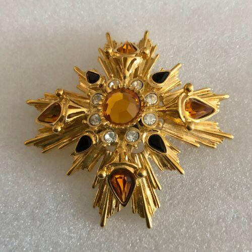 Vintage Joan Rivers  Crystals Starburst Maltese Cross Pin