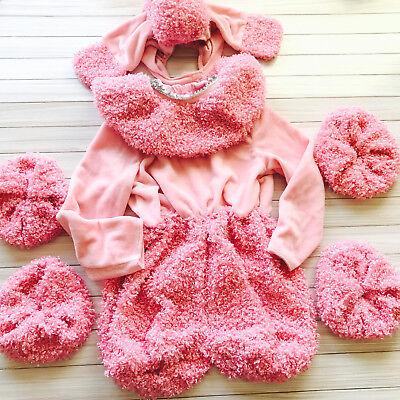 Girls Pink Poodle Puppy Dog Plush Halloween Costume Express 6 Pcs Size XS 4-5  (Halloween Costumes Express)