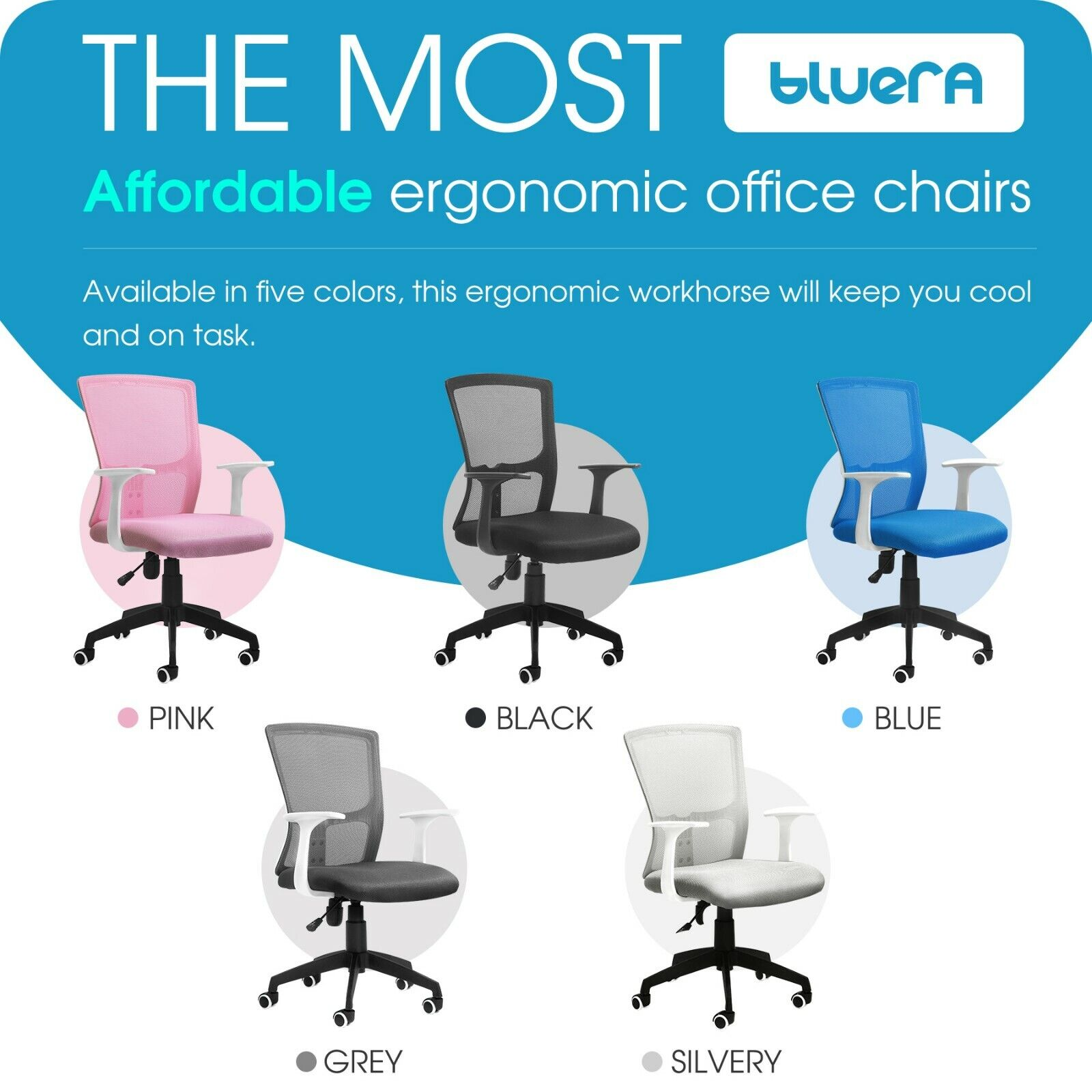 Adjustable Ergonomic Mesh Home Office Chair Office Desk Mid-Back Swivel Chairs