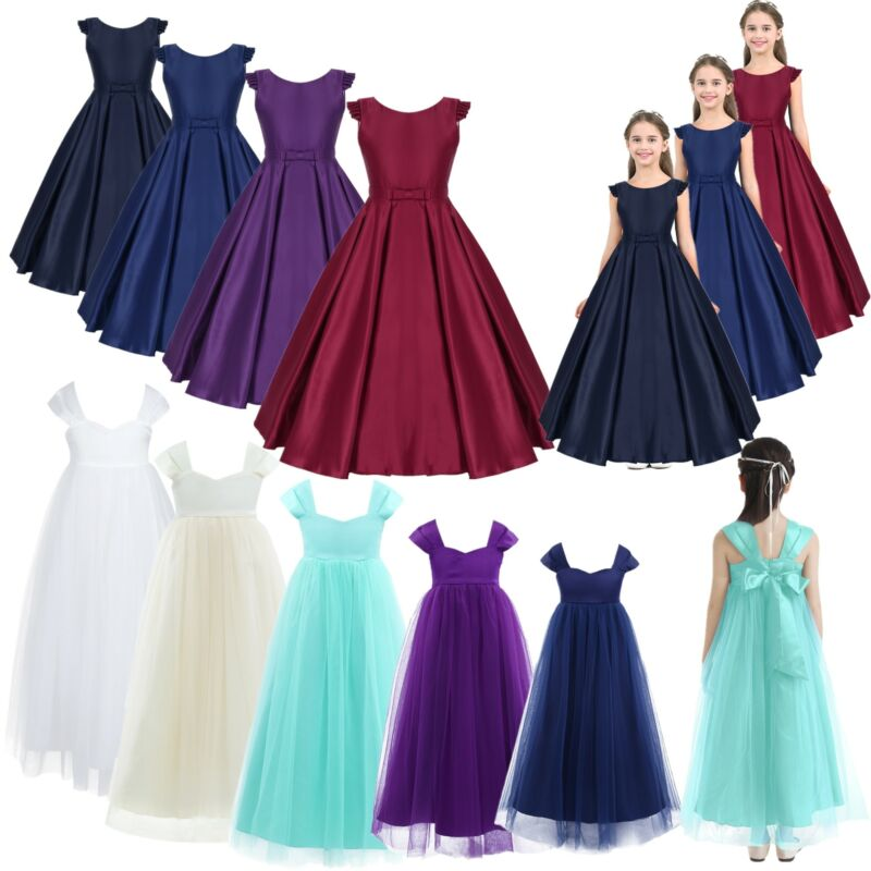 Girls Wedding Party Lace Dress Bridesmaid Pageant Princess Flower Dresses