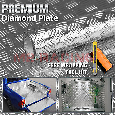 12x48 Silver Chrome Diamond Plate Vinyl Decal Sign Sheet Film Self Adhesive