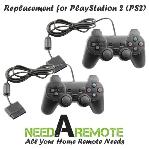 2X Black Twin Shock Game Controller Joypad Pad for Sony PS2 Playstation 2